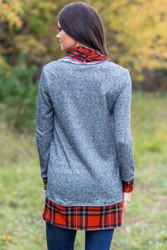 Gray Autumn Wind Plaid Cowl Neck Tunic - GHA Discount