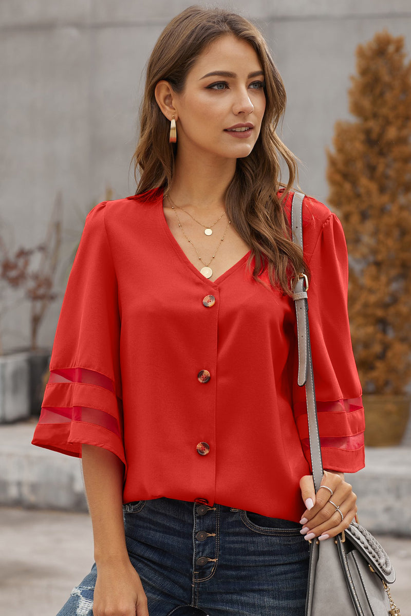 Flare Sleeve Button Down Blouse - GHA Discount