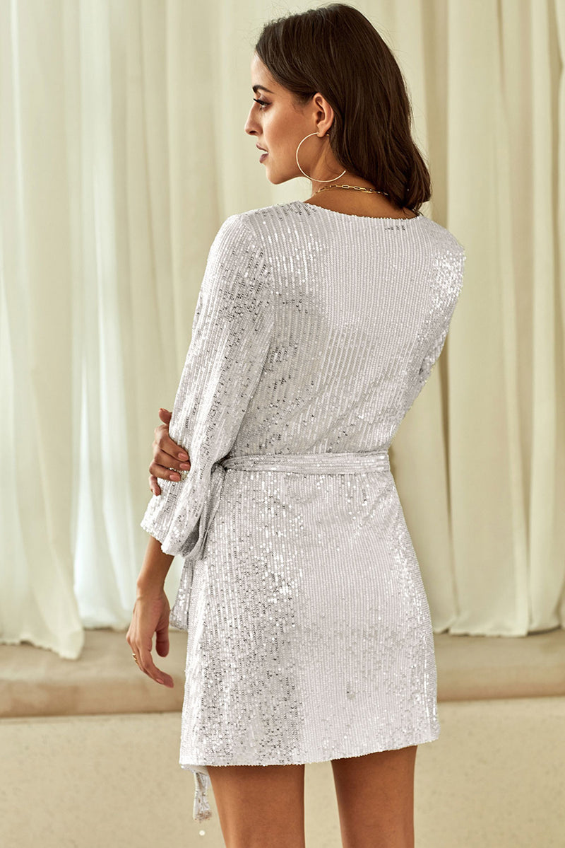 Silver Sequin Wrap Dress with Sash - GHA Discount