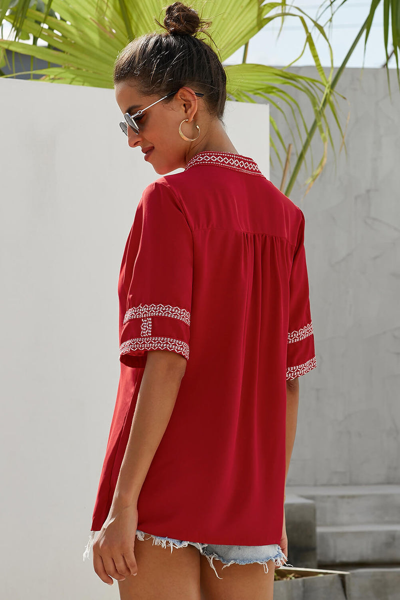 Elbow Length Sleeves Blouse - GHA Discount