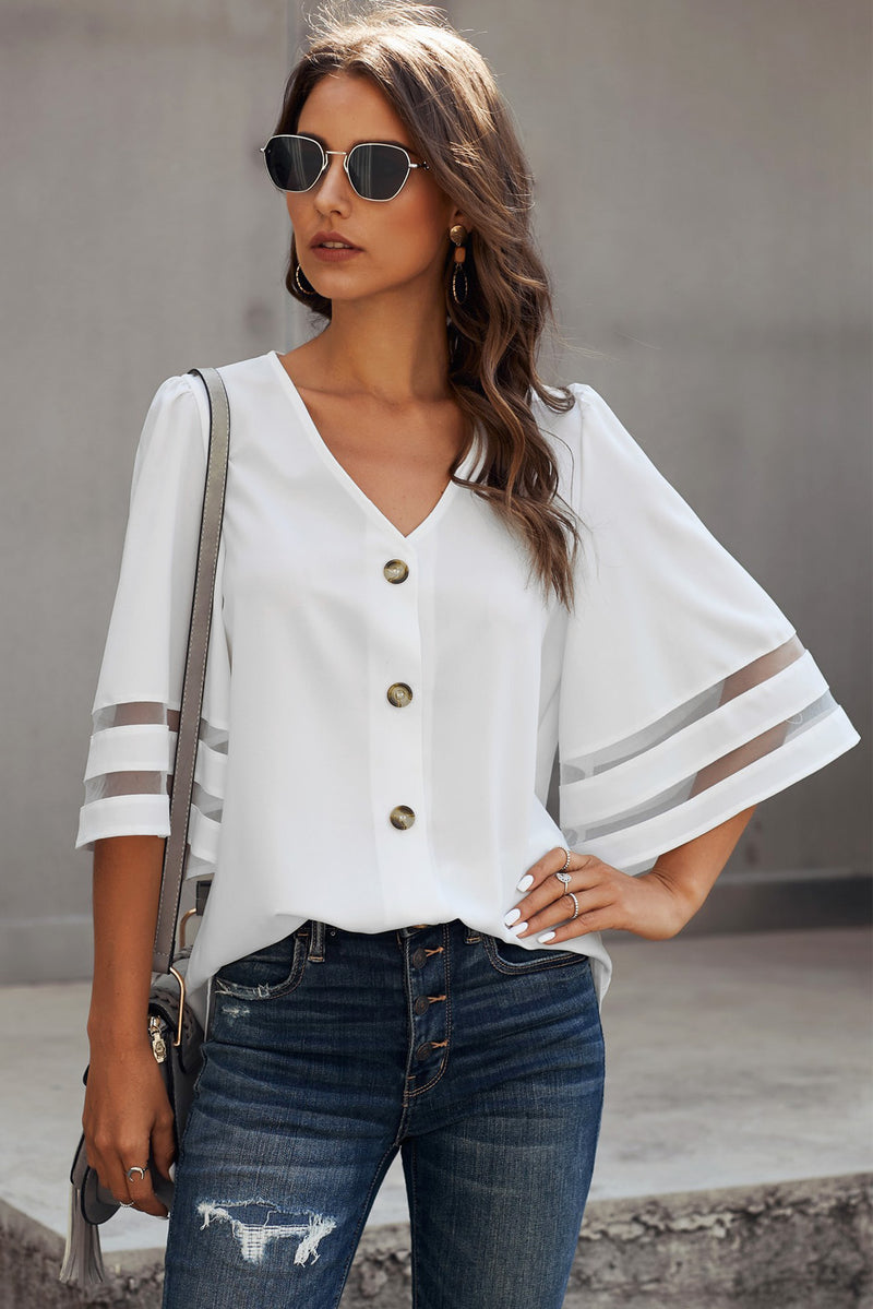 Flare Sleeve V Neck Button Down Blouse - GHA Discount