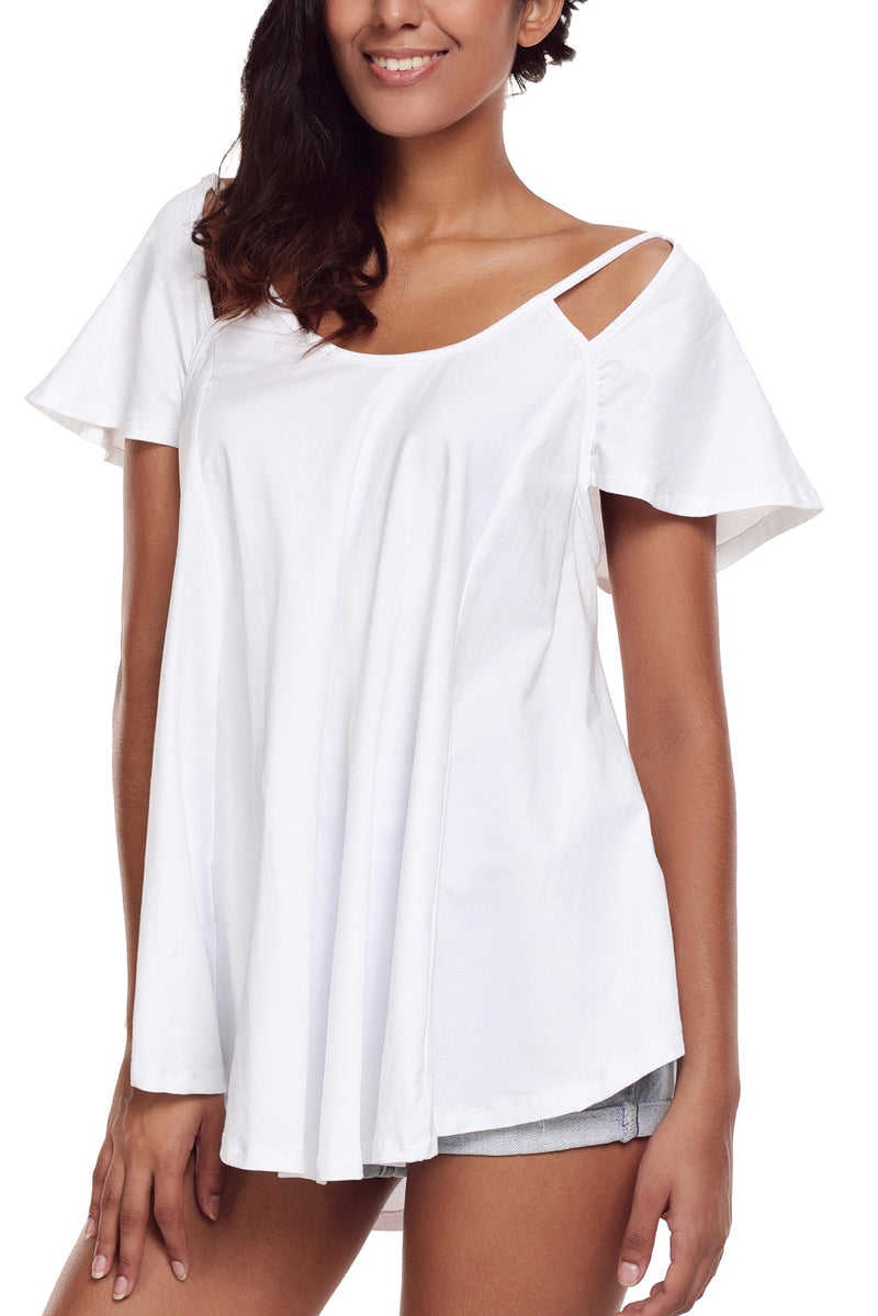 Cutout Cold Shoulder Flowy Top - GHA Discount