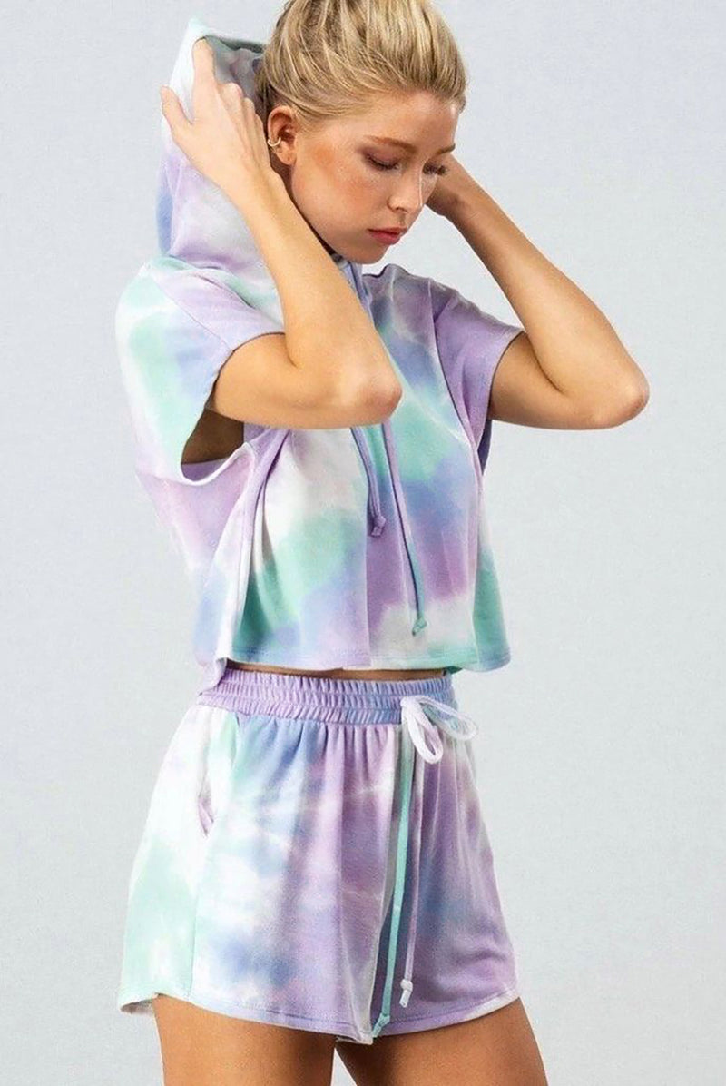 Blue Purple Tie Dye Lounge Two-Piece Set - GHA Discount