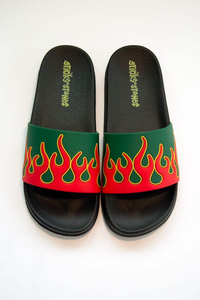 Flamin' Slides Black, Red & Green