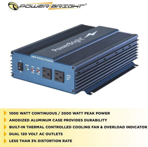PowerBright 24 Volts Pure Sine Power Inverter 1000 Watt image of case durability built-in fan less than 3% distortion rate