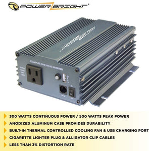 PowerBright Pure Sine Power Inverter 300 Watt image of anodized case durability built-in fan less than 3% distortion rate.