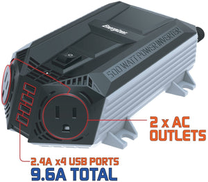 Energizer 500 Watt Power Inverter 12V image 9.6A compatible USB
