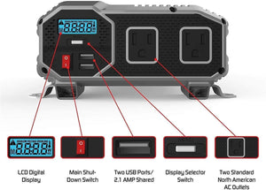 ENERGIZER 2000 Watt 12V Power Inverter image of front features