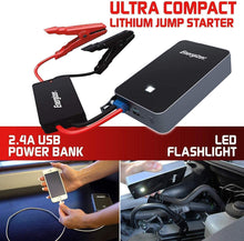 Load image into Gallery viewer, Energizer Heavy Duty Jump Starter 11,100mAh image of ultra compact jump starter with powerbank and flashflight