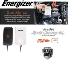 Load image into Gallery viewer, Energizer Heavy Duty Jump Starter 7500mAh image of smart clamps  and versatile