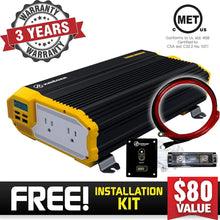 Load image into Gallery viewer, Krieger 1500 Watts Power Inverter 12V to 110V image of warranty and installation kit