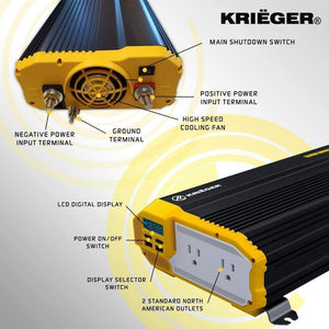 Krieger 1500 Watts Power Inverter 12V to 110V image of features
