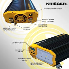 Load image into Gallery viewer, Krieger 2000 Watts Power Inverter 12V to 110V image of features