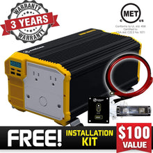 Load image into Gallery viewer, Krieger 3000 Watts Power Inverter 12V to 110V image of warranty and installation kit