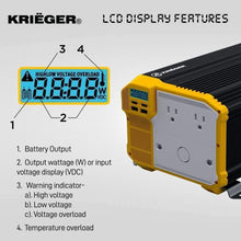 Load image into Gallery viewer, Krieger 4000 Watts Power Inverter 12V to 110V image of LCD display features