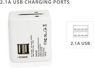 KRIEGER Universal Worldwide All-in-one Travel Charger Adapter Plug image of 2.1A USB charging ports