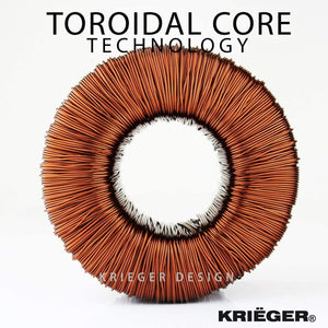 ULT1700 Krieger 1700 Watt Voltage Transformer, 110/120V to 220/240V image of toroidal core technology