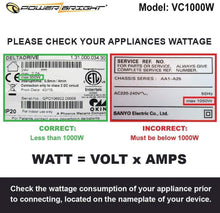 Load image into Gallery viewer, VC1000W PowerBright Step Up & Down Transformer label watt volt amps consumption