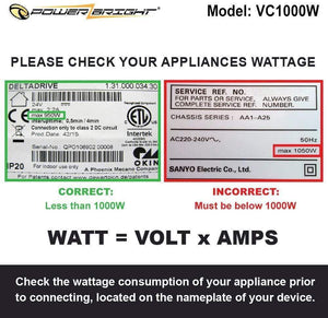 VC1000W PowerBright Step Up & Down Transformer label watt volt amps consumption