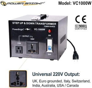 VC1000W PowerBright Step Up & Down Transformer universal 220v output