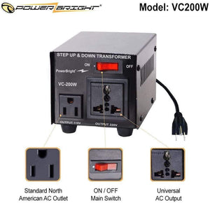 VC200W PowerBright Step Up & Down Transformer image of features