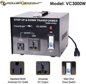 VC3000W PowerBright 3000 Watts Voltage Transformer image of features