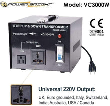 Load image into Gallery viewer, VC3000W PowerBright 3000 Watts Voltage Transformer image of universal output