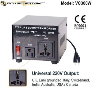 VC300W PowerBright Step Up & Down Transformer image of universal output