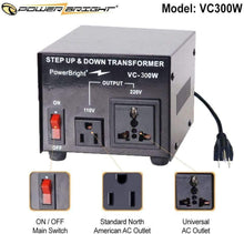 Load image into Gallery viewer, VC300W PowerBright Step Up & Down Transformer image of features