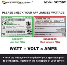Load image into Gallery viewer, VC750W – 750 Watt image of wattage