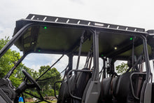 Load image into Gallery viewer, Product shot of Heise Dome/Cargo lights installed and lit in white and green on underside of Swamp Ox UTV roof rack. Six lights lit up in total, four green and two white.