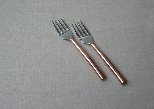 Oval Copper-Plated 2-Piece Dinner Fork Set
