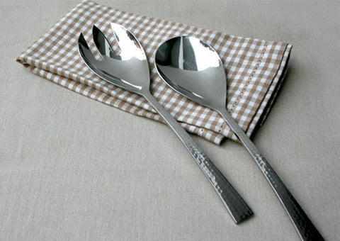 Beaten Steel 2-Piece Salad Server Set
