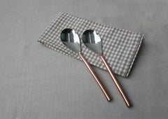 Oval Copper-Plated 2 -Piece Dinner Spoon Set