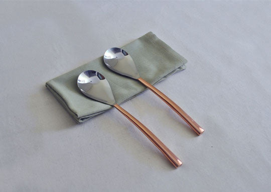 Oval Copper-Plated 2-Piece Serving Spoon Set