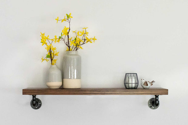 "Smooth Edge Pine Shelves | Industrial Pipe ""L"" Brackets 