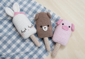 CROCHET ICE-CREAM ANIMALS (BUNNY, BEAR AND PIG)
