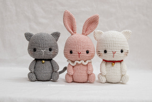 Cochet 2in 1 Pattern- Cat and Bunny in sitting posture- PDF Digital Download-Amigurumi Pattern- Instand Download- Language English