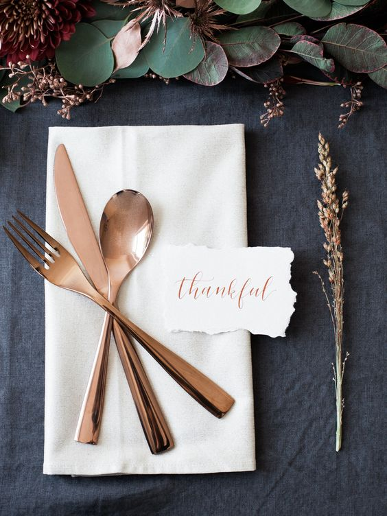 rose copper cutlery table setting