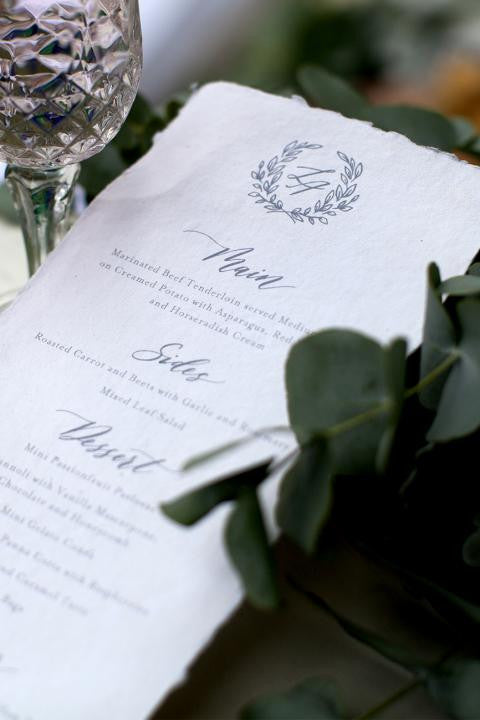 terrace press letterpress wedding menu
