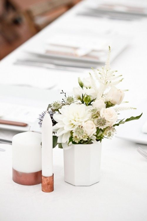 rose copper candle base table setting