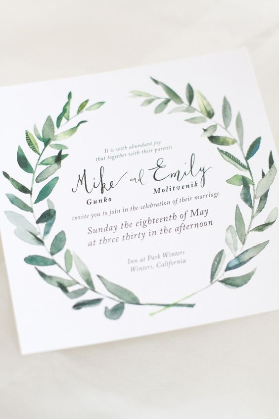pantone kale wedding stationery