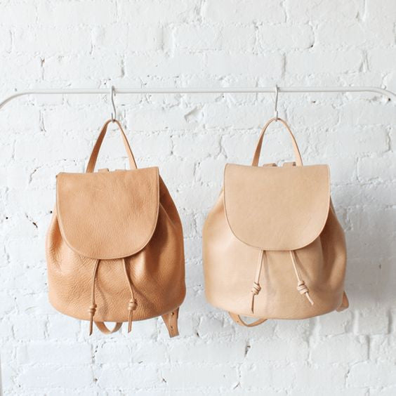 hazelnut leather backpack