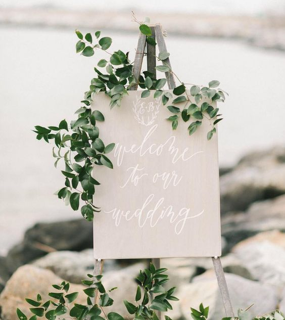 pantone kale wedding signage