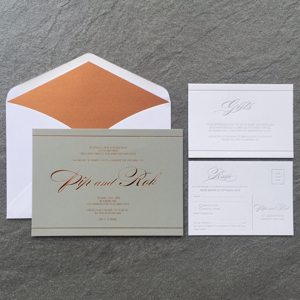 rose copper terrace press wedding invitation