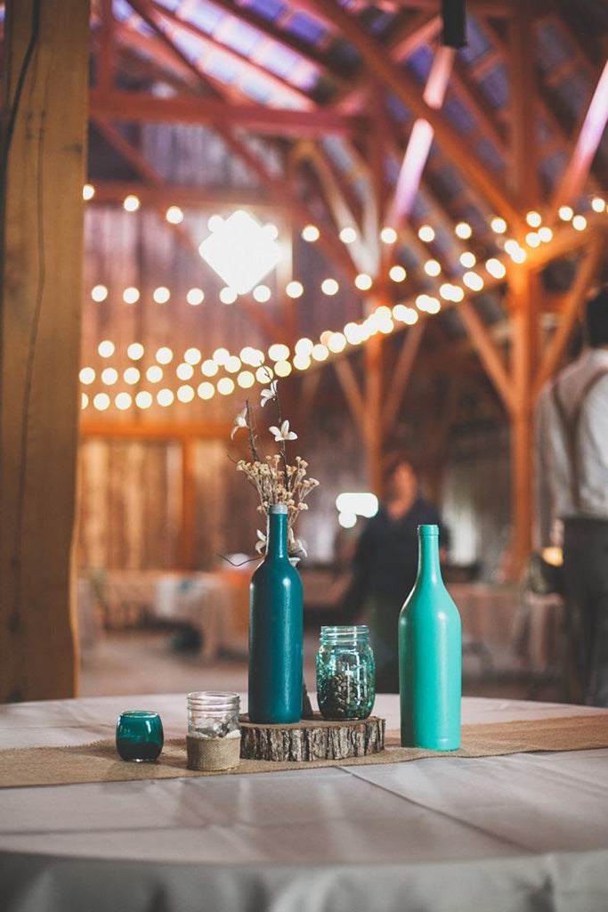 teal table setting vase