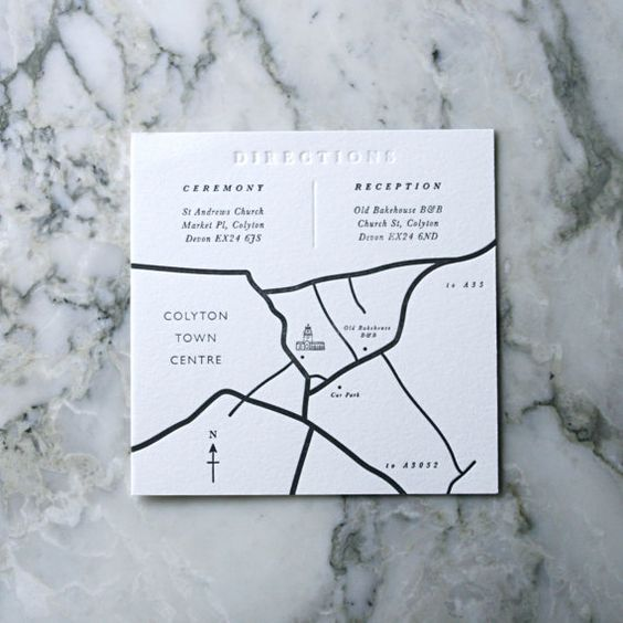 letterpress map wedding invitation
