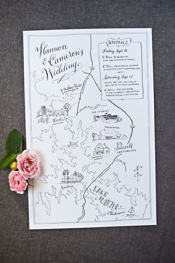 wedding map invitation illustration