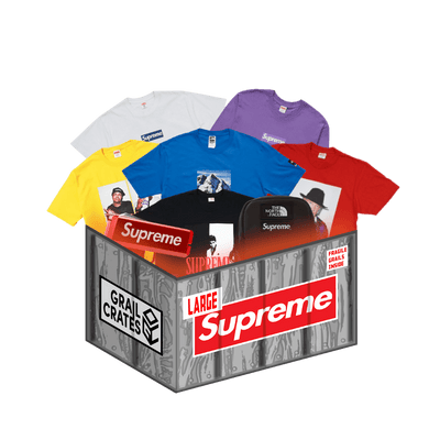 The Supreme Mystery Box contains clothing from the hypebeast brand, Supreme.