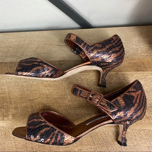 Load image into Gallery viewer, Manolo Blahnik Mary Jane Tiger Sequin Heels